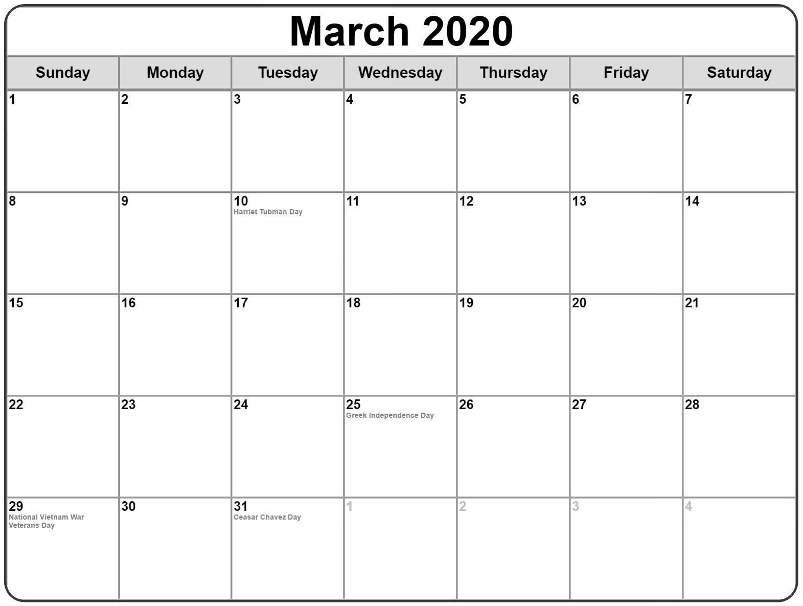 Blank Calendar 2020