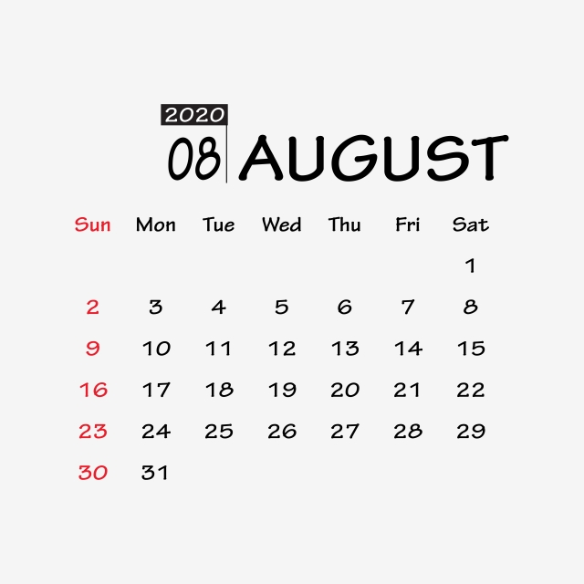 August 2020 Printable Calendar Blank