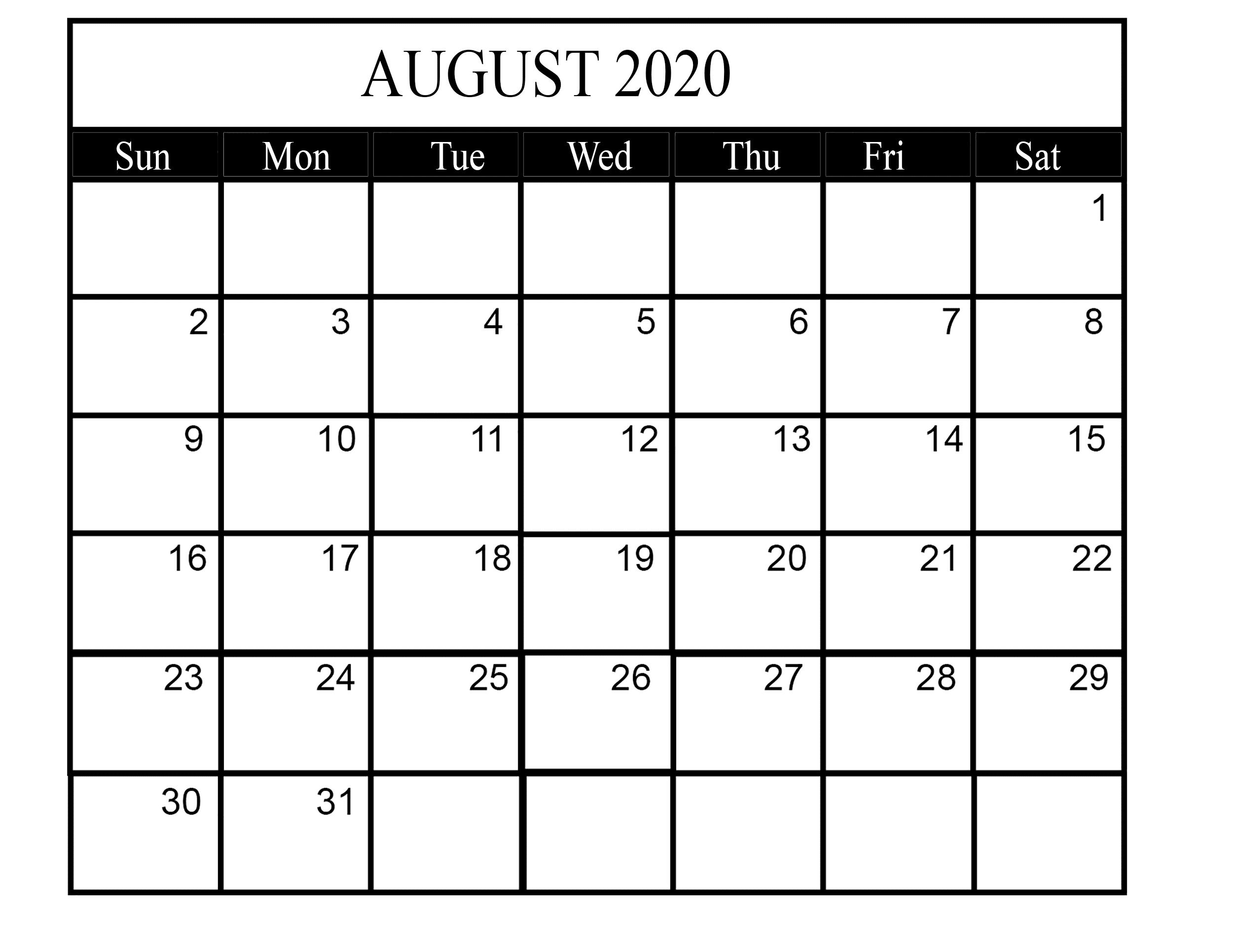 August 2020 Weekly Calendar Template