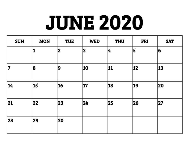 Blank June July August 2020 Calendar