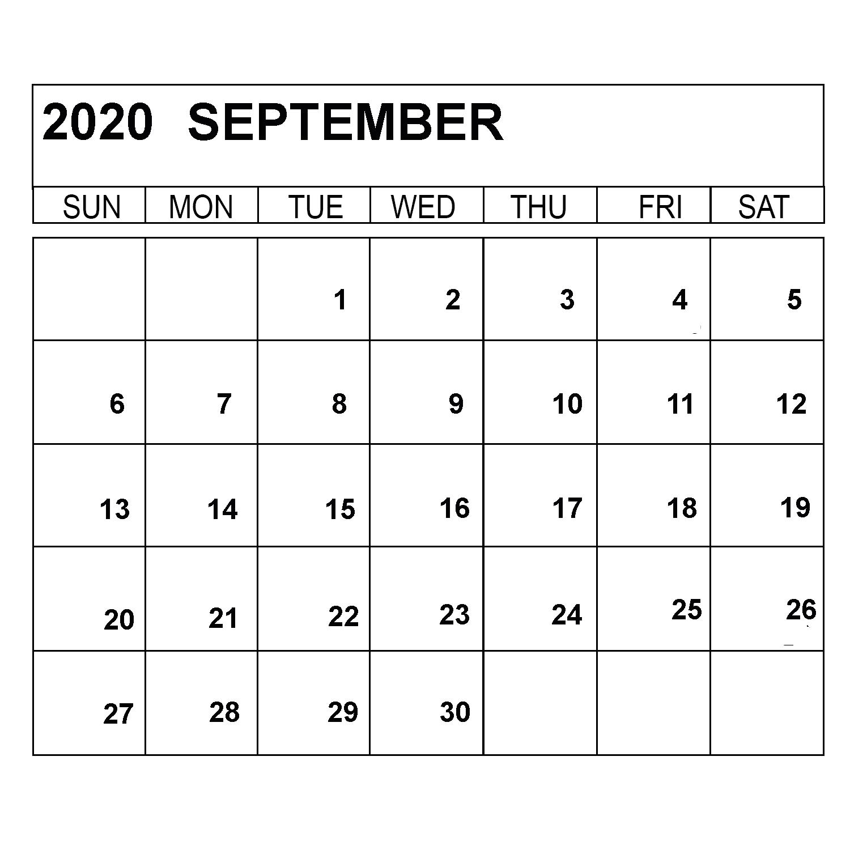 Blank September 2020 Weekly Calendar