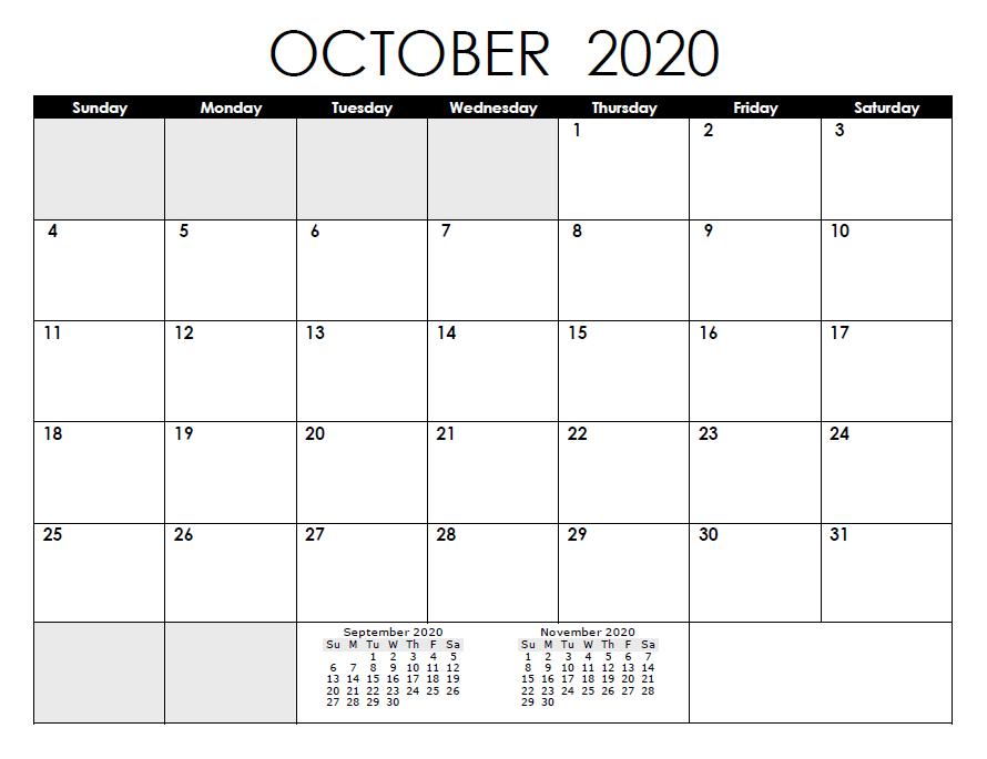 Calendar for October