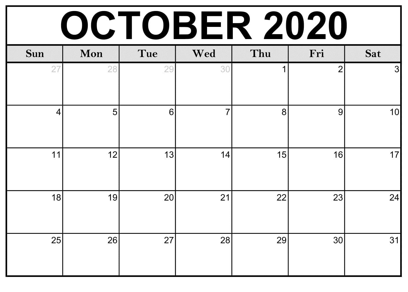 Cute October Calendar