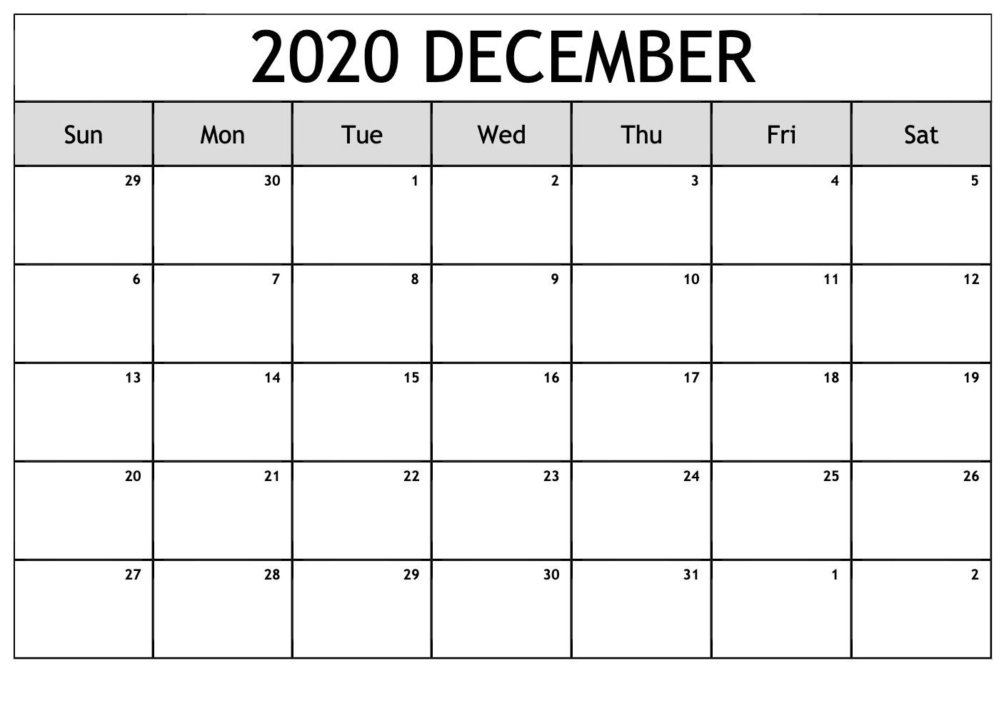 December 2020 Blank Template