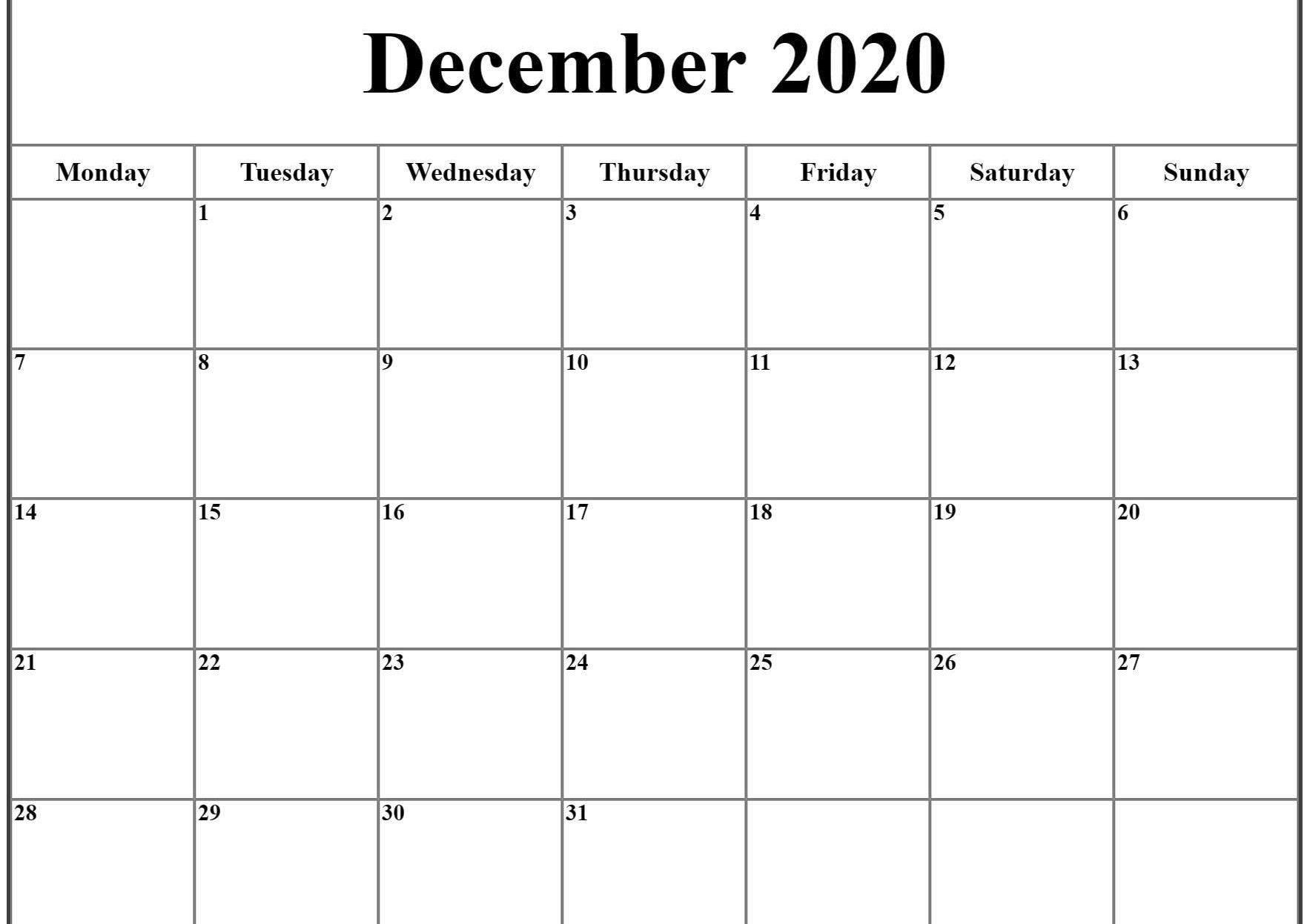 December 2020 Calendar