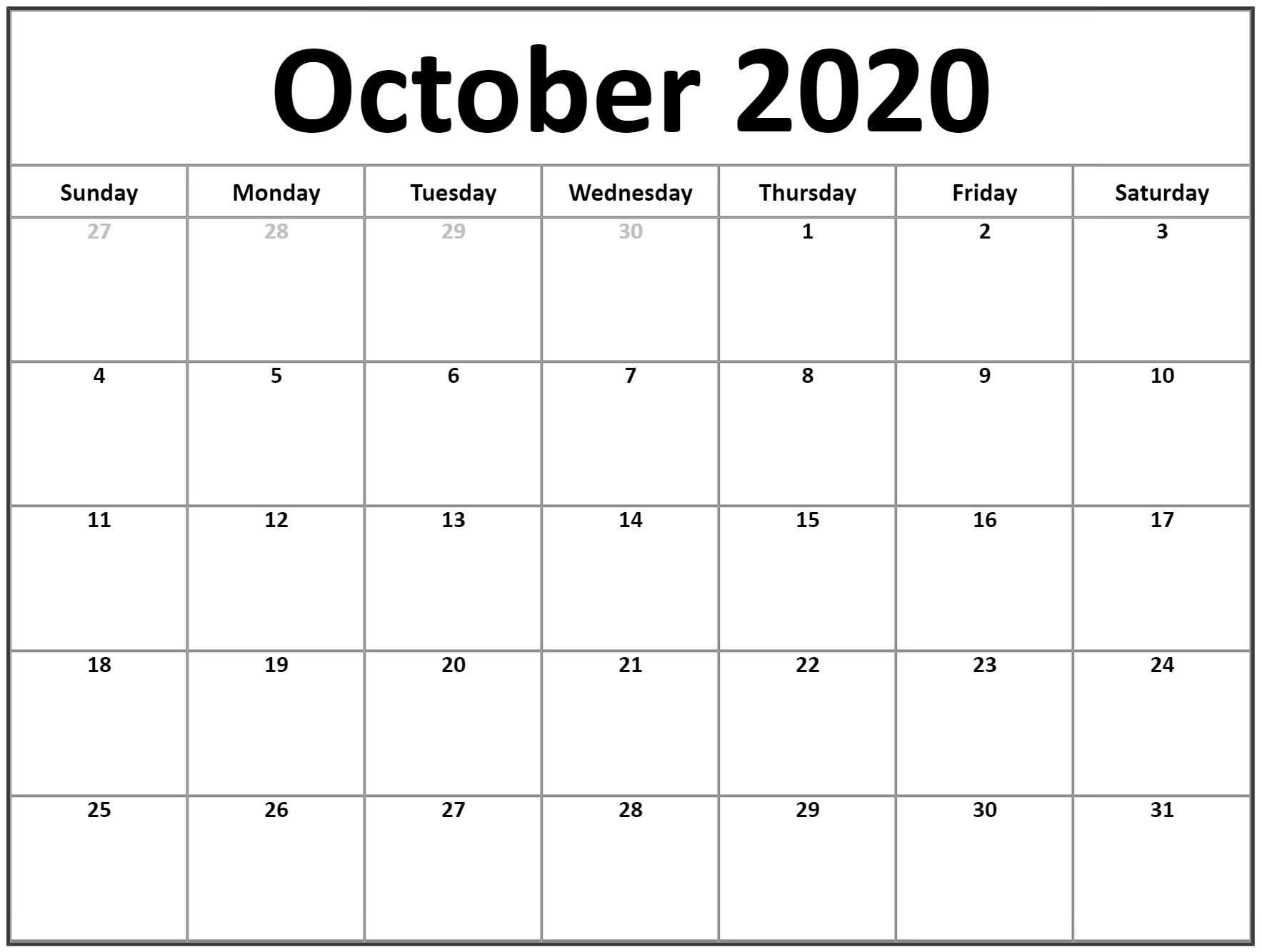 Editable October Calendar