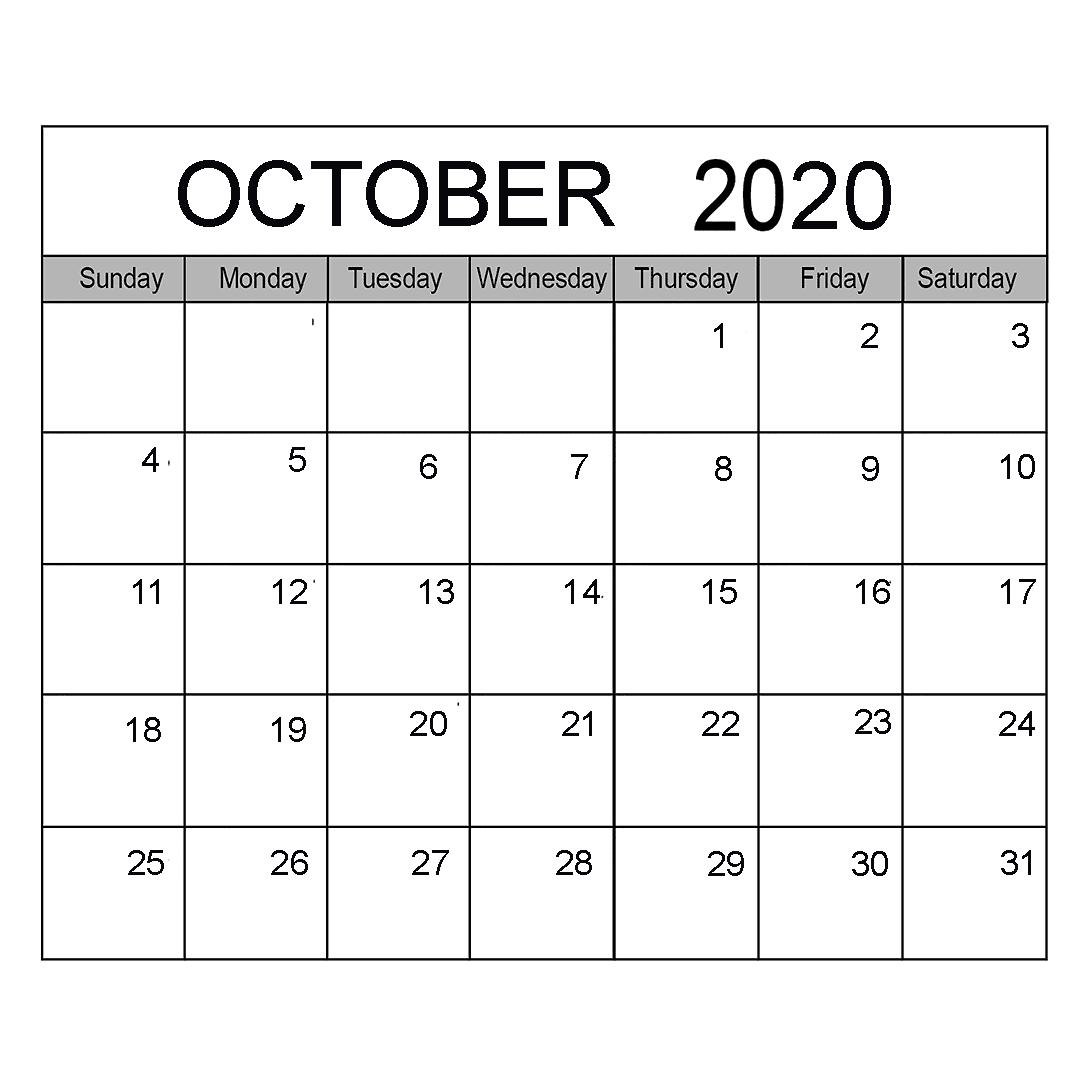 Fillable Calendar for October