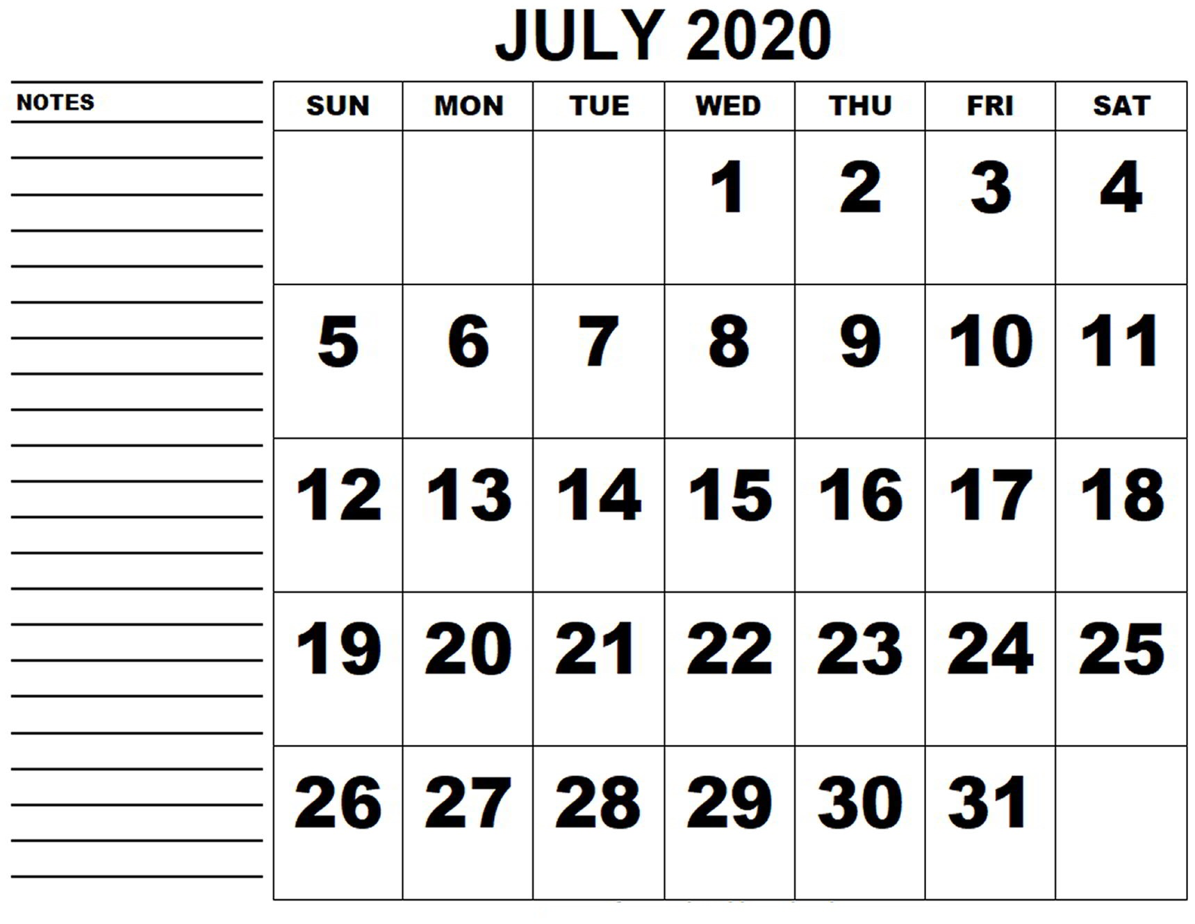 July 2020 Blank Calendar Page