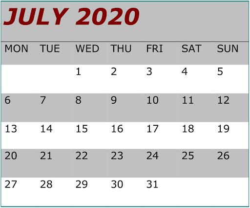 July 2020 Blank Calendar Word