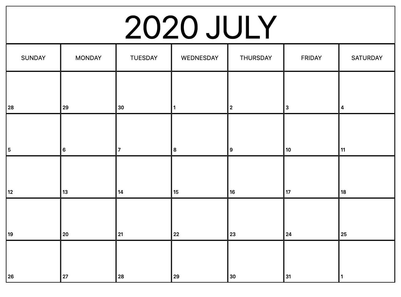 July 2020 Calendar Printable Floral