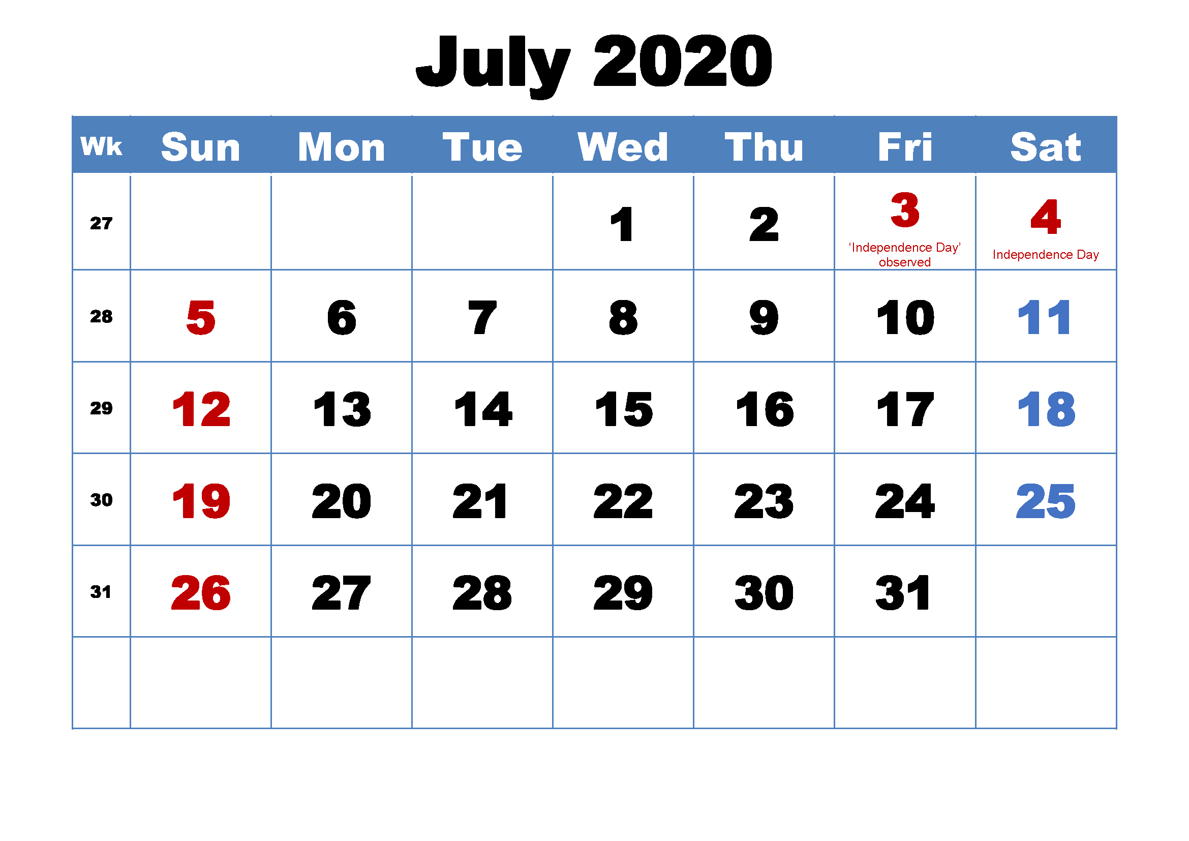 July 2020 Calendar Template Google Sheet