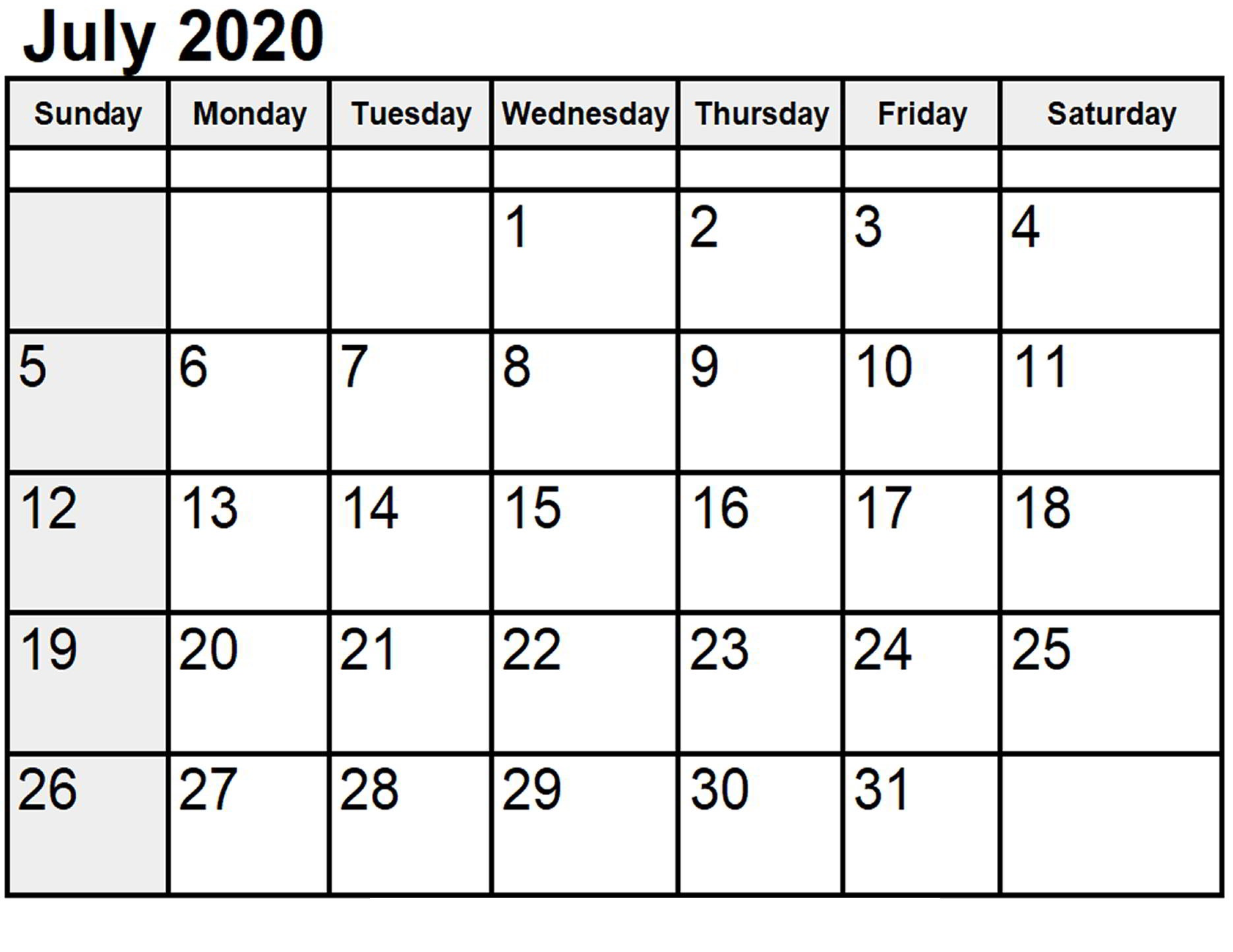 July 2020 Printable Calendar Free
