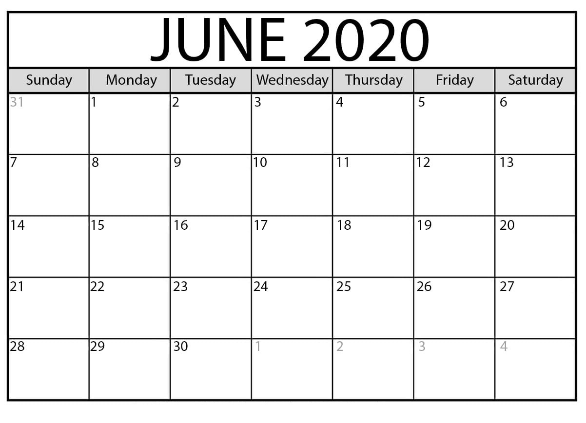 June 2020 Blank Calendar Dates