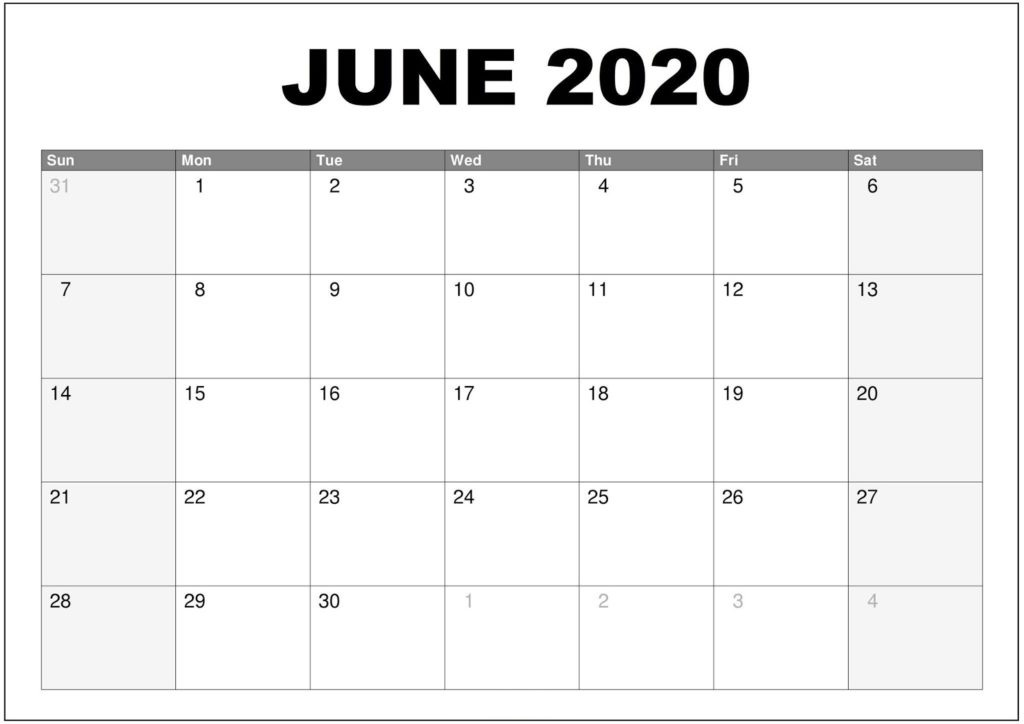 June 2020 Printable Monthly Calendar