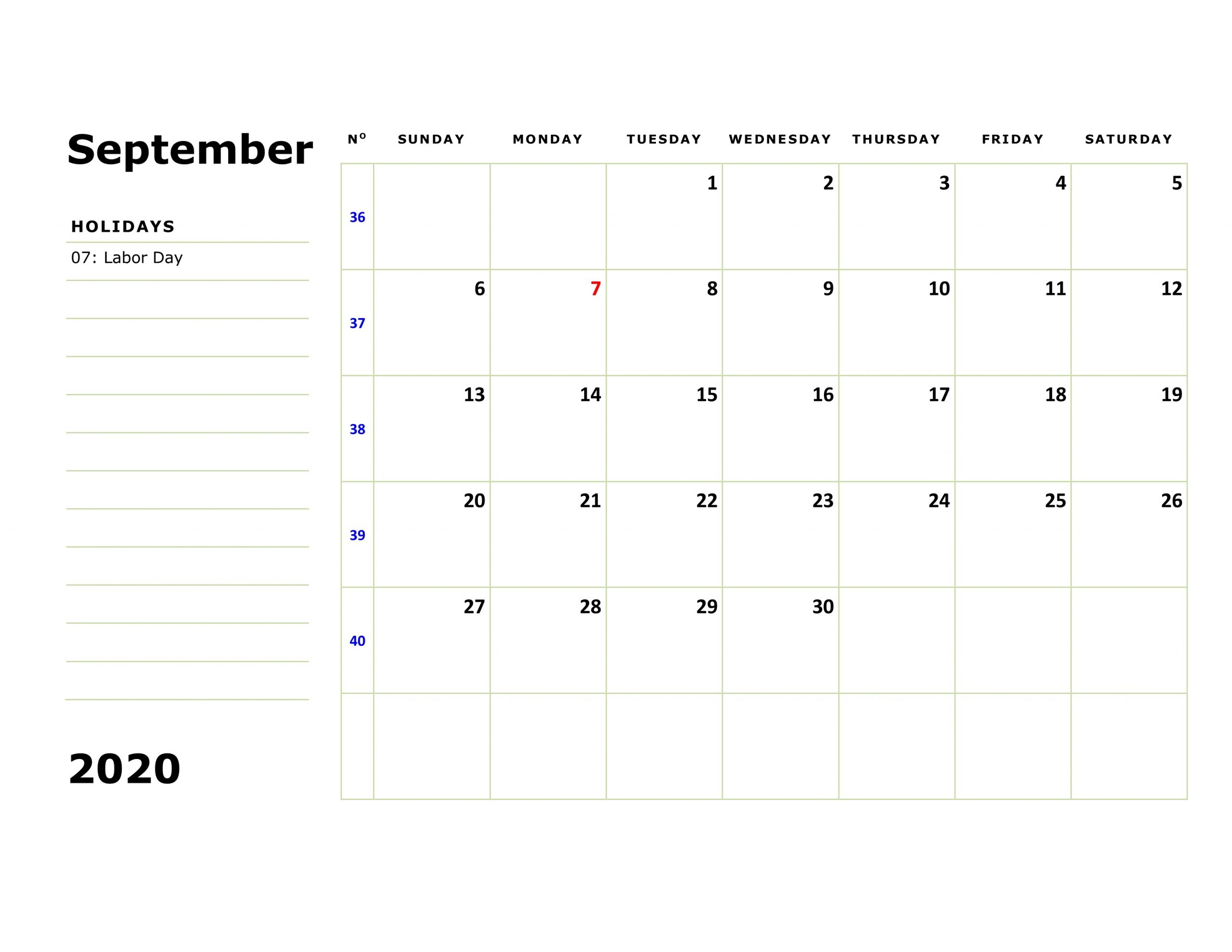Moon Calendar for September 2020