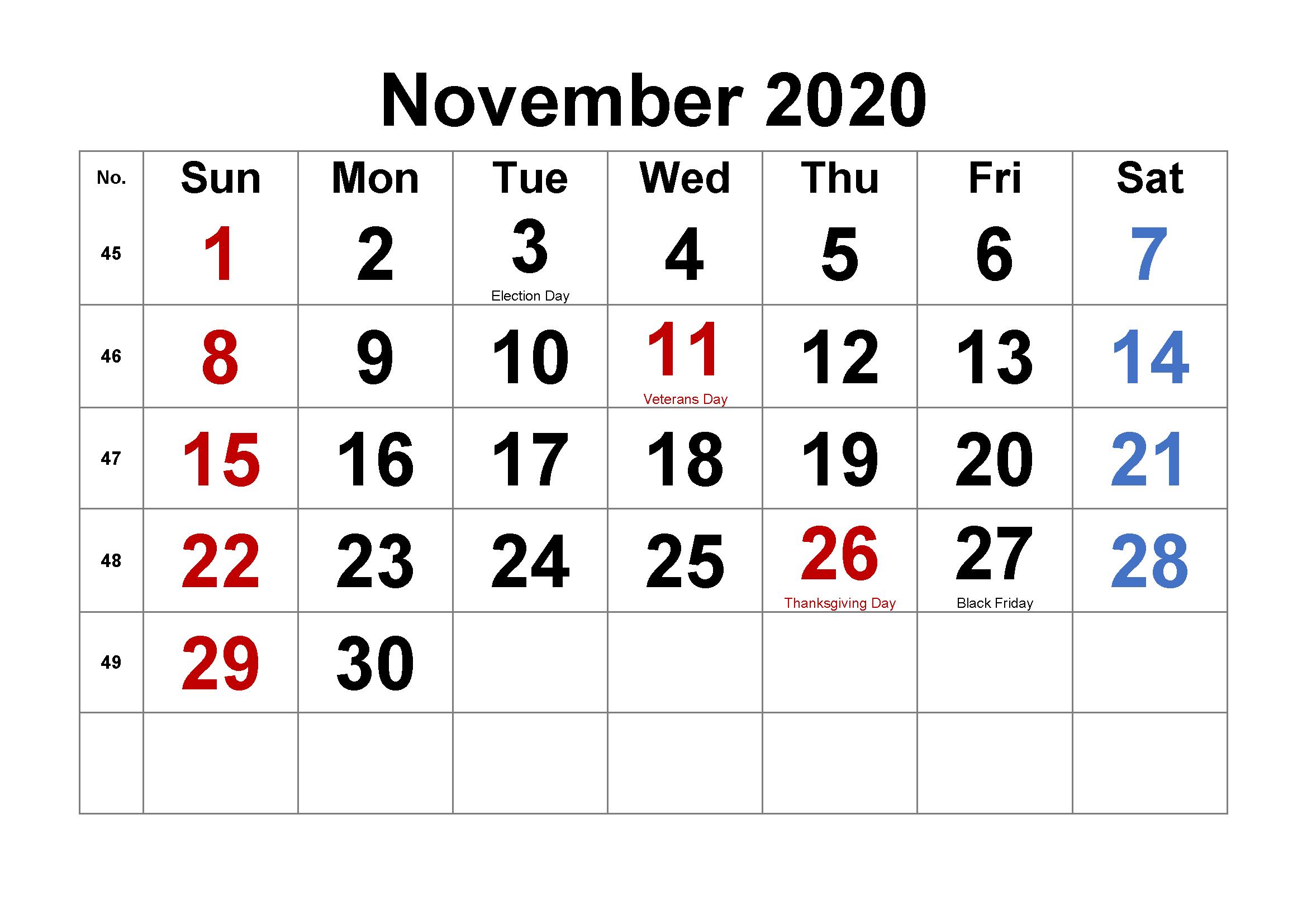 November 2020 Blank Template