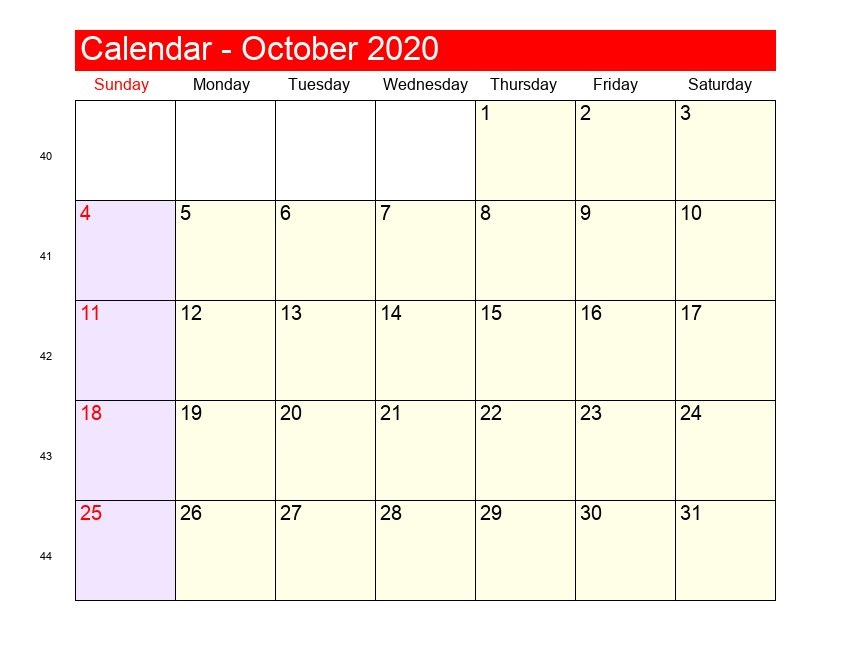 October 2020 Monthly Calendar