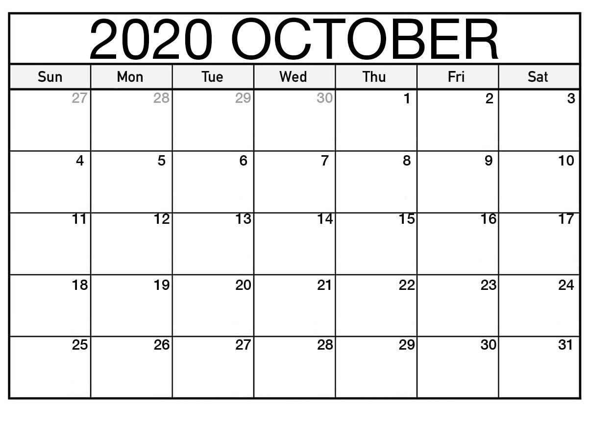 October Calendar Template