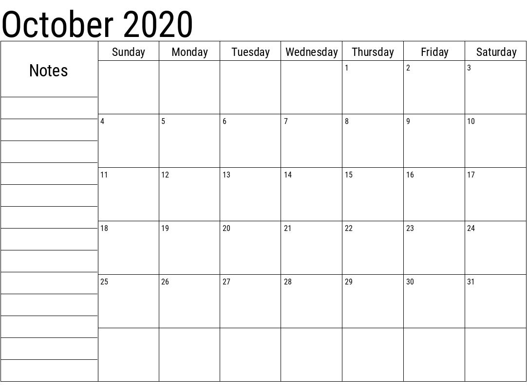 October 2020 Printable Calendar