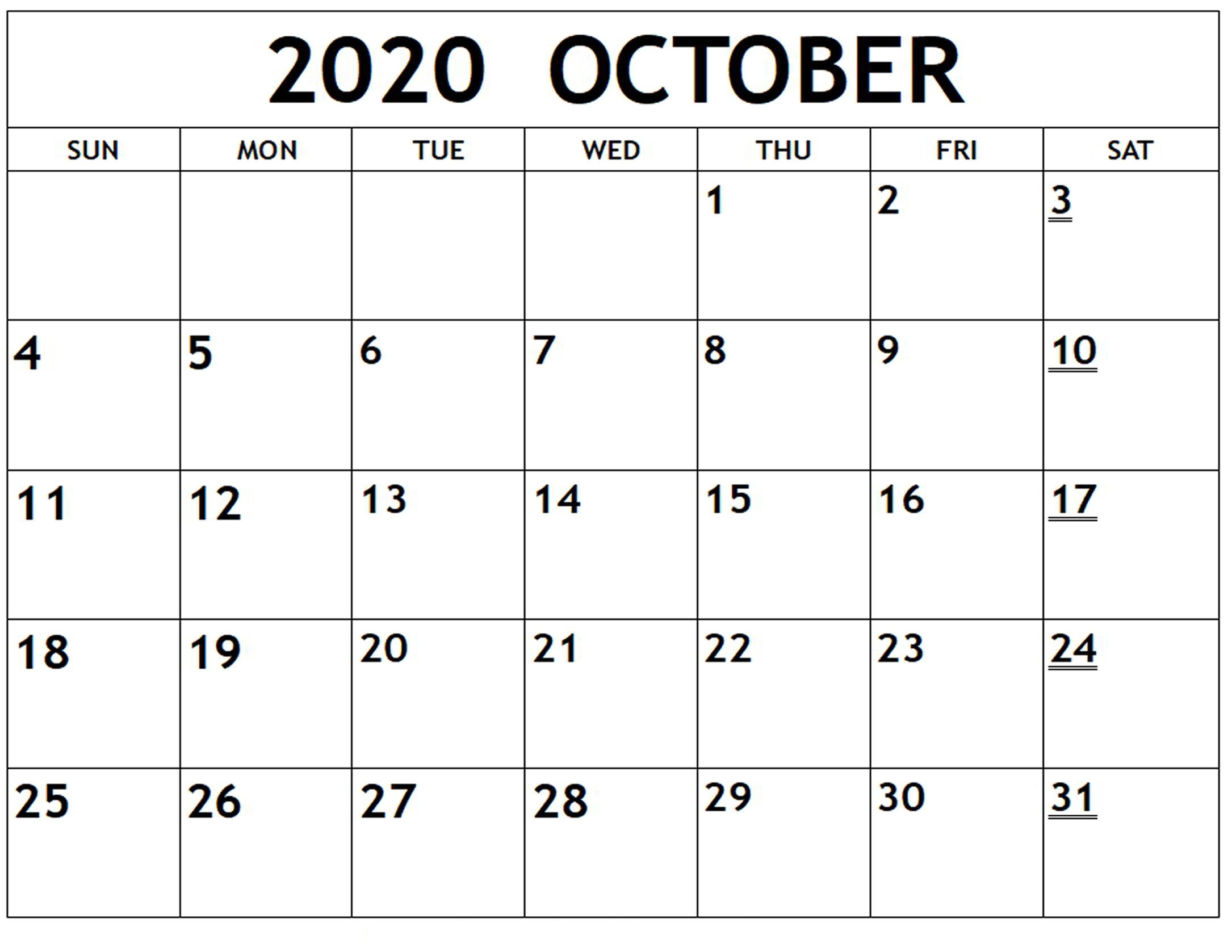 October Monthly Calendar