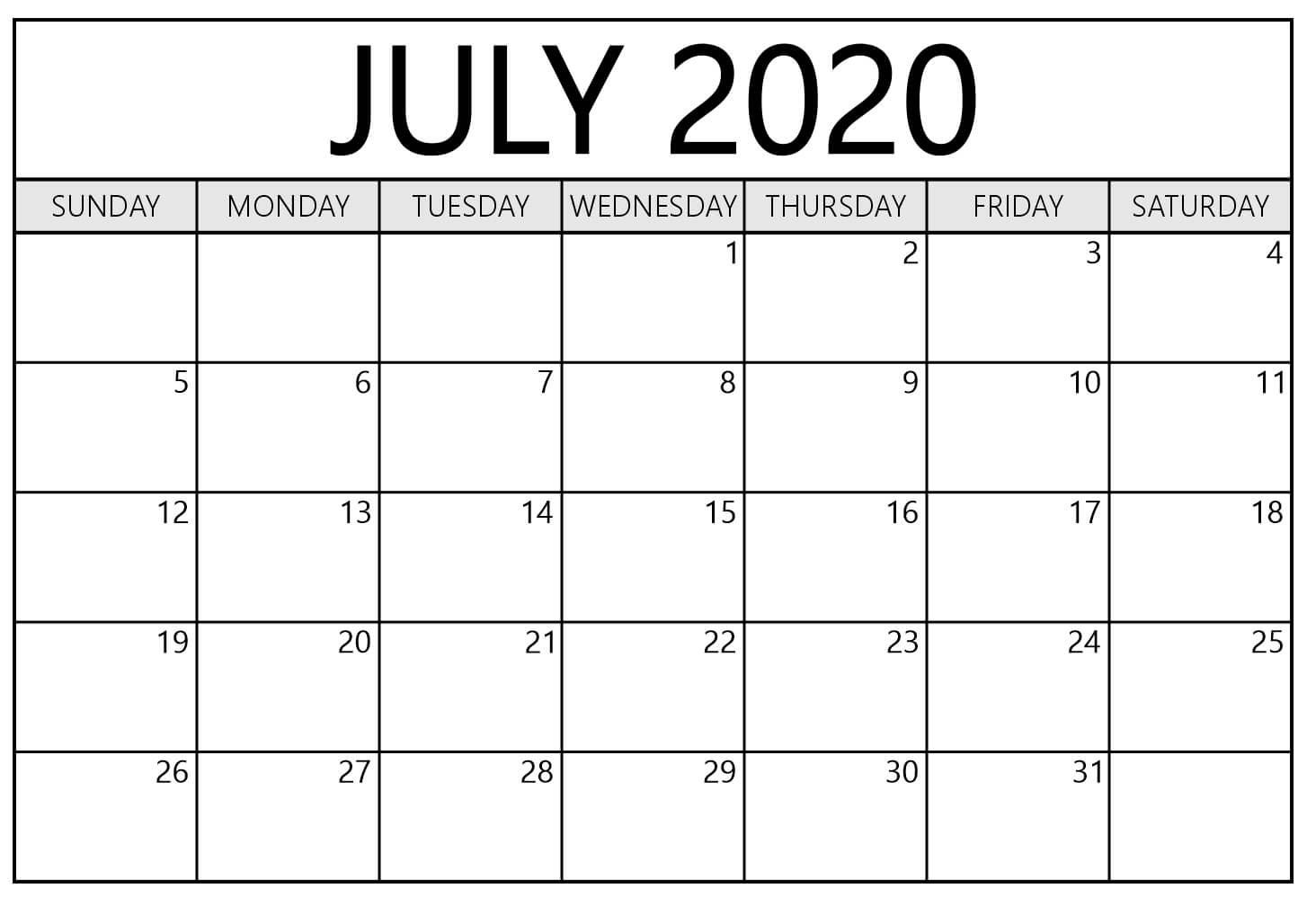 Calendar July 2020