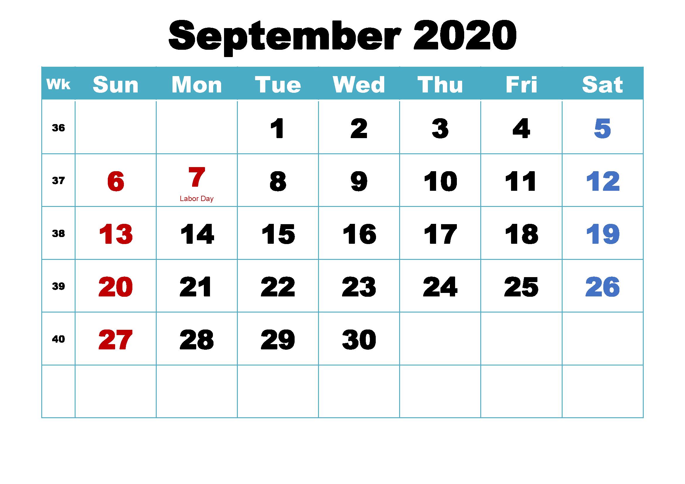 September 2020 Calendar