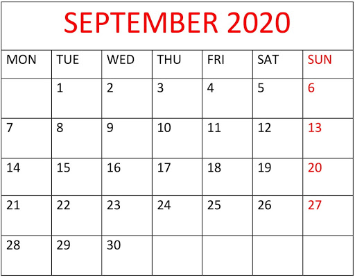 September 2020 Calendar Printable Landscape