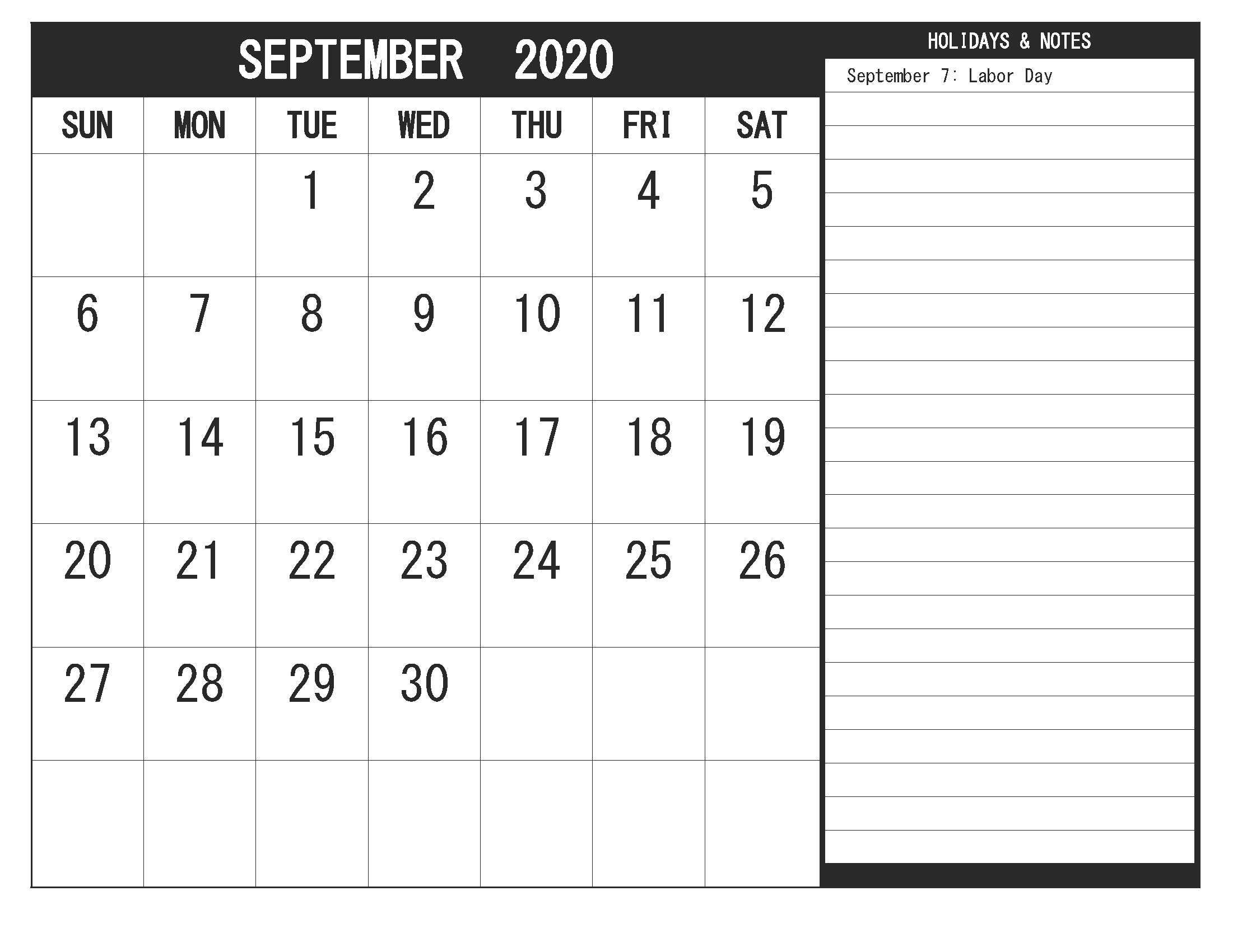 Printable Blank September 2020 Calendar PDF Template ...