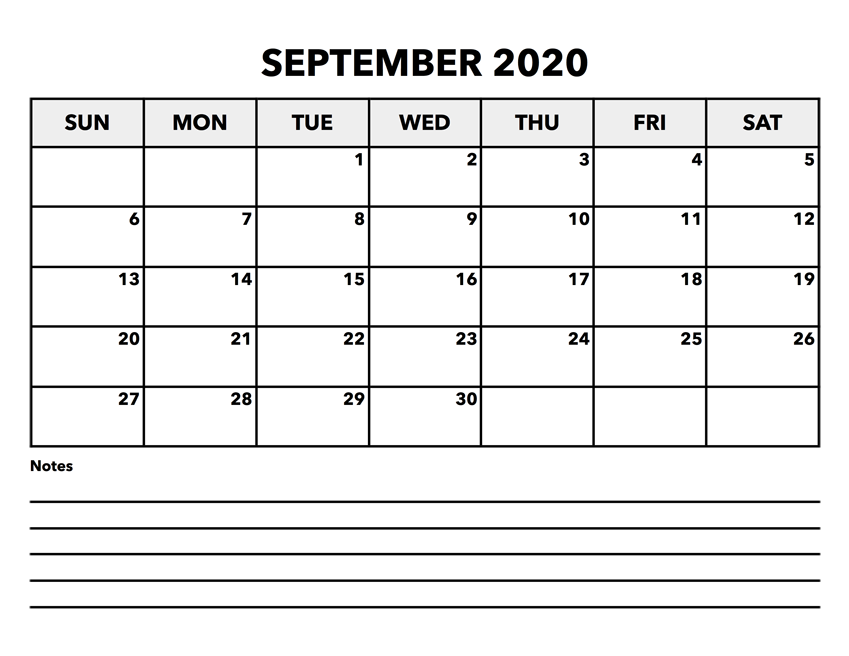 September 2020 Printable Calendar Waterproof