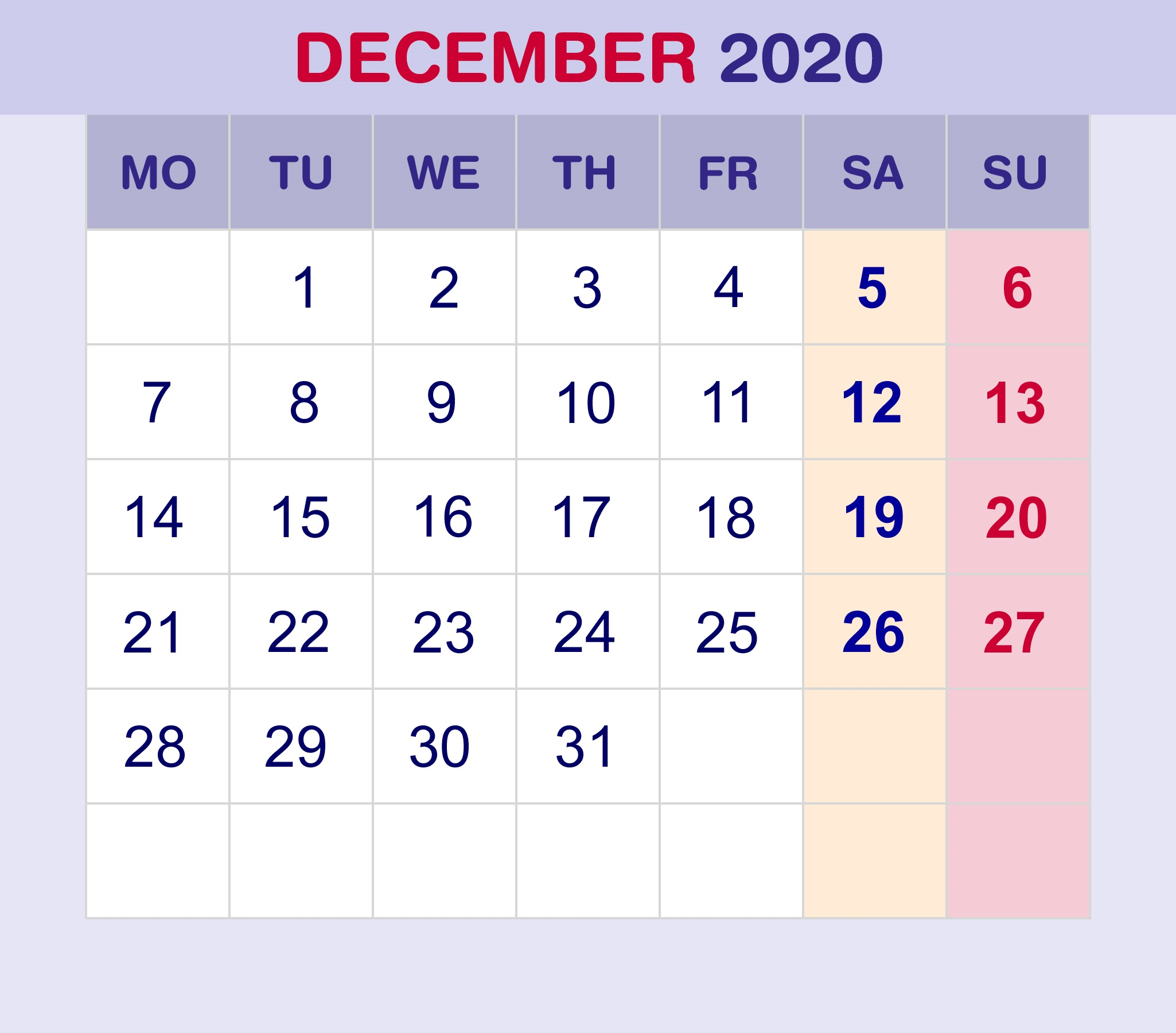 Calendar for December 2020