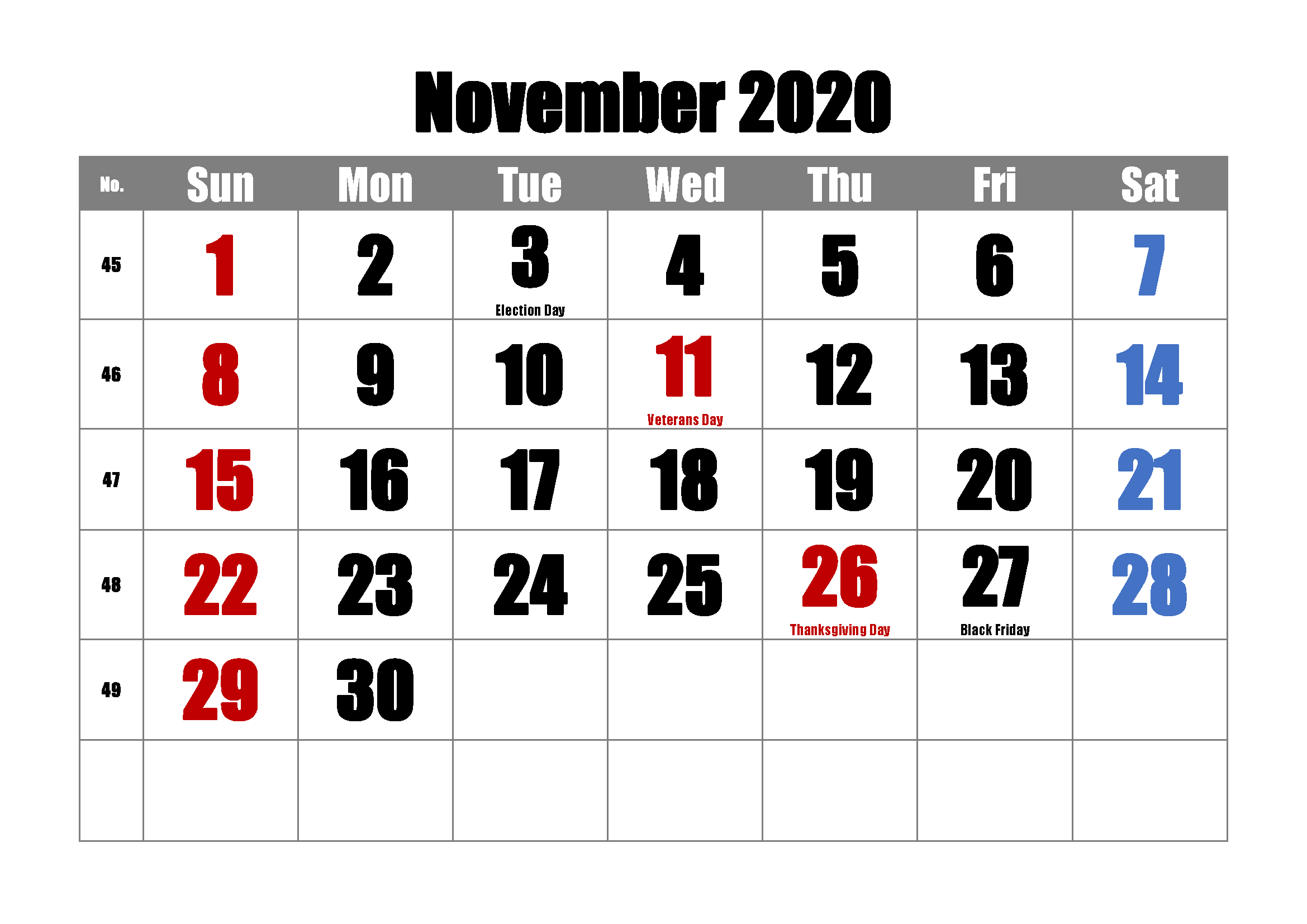 Calendar for November 2020