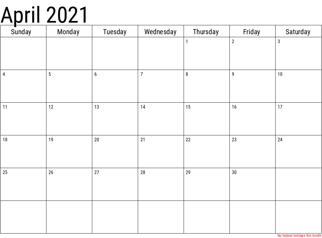 Another Simple April 2021 Calendar