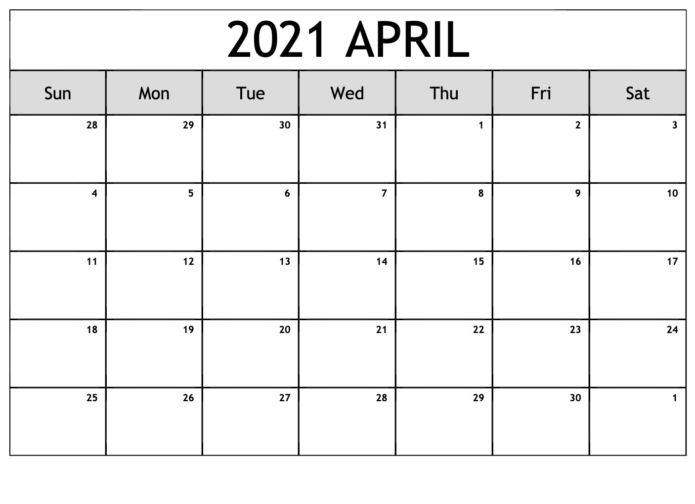 April 2021 Calendar with notes PNG