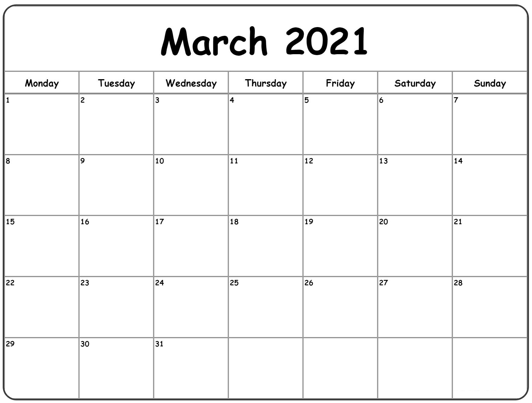 Black and white March calendar 2021