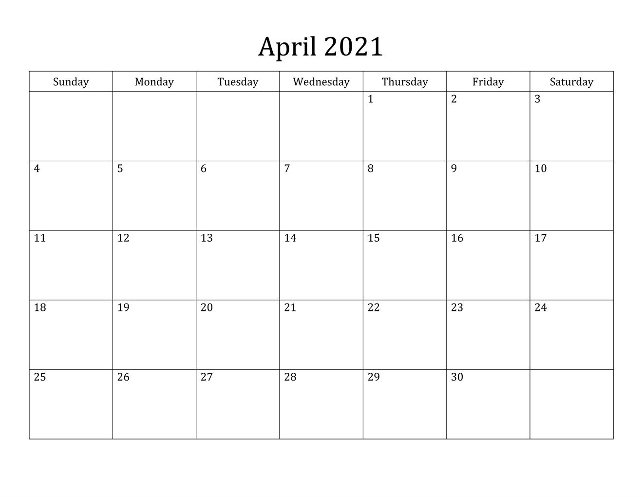 Blank Minimalist April 2021 Calendar