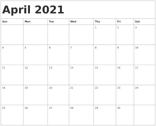 Clean April 2021 Calendar