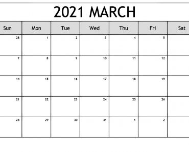 Colorful March calendar 2021