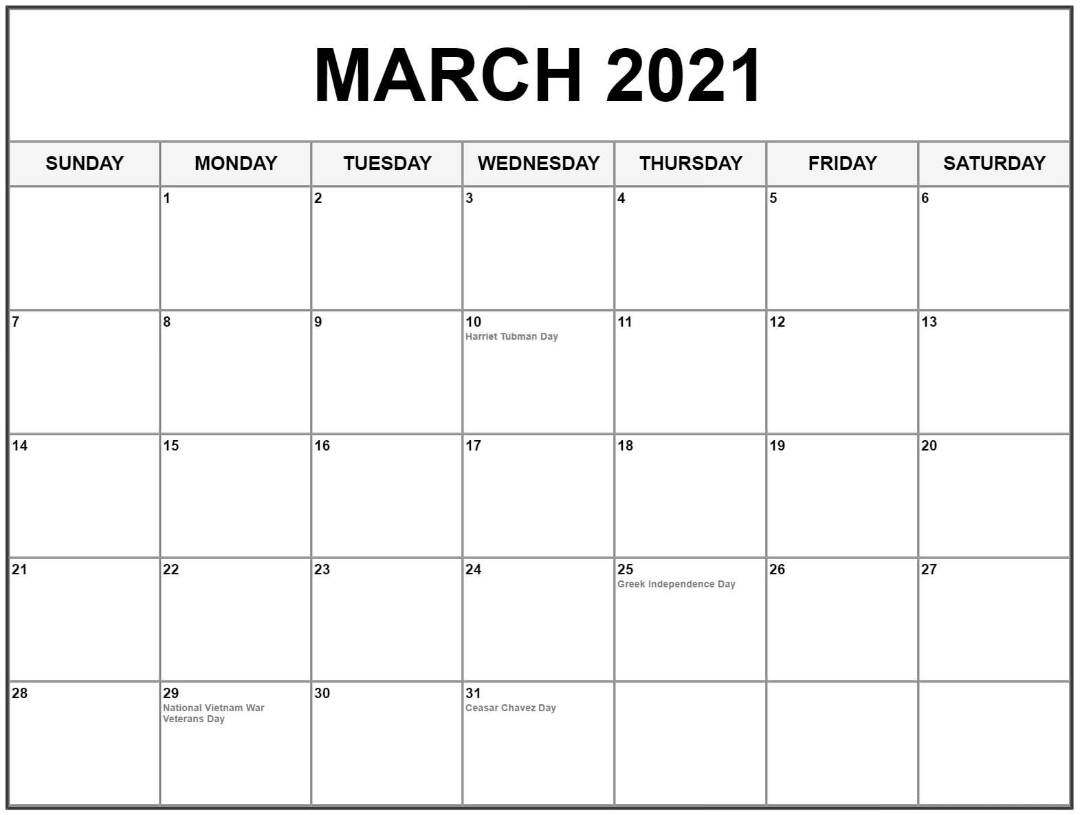 Cute Pink March Calendar 2021