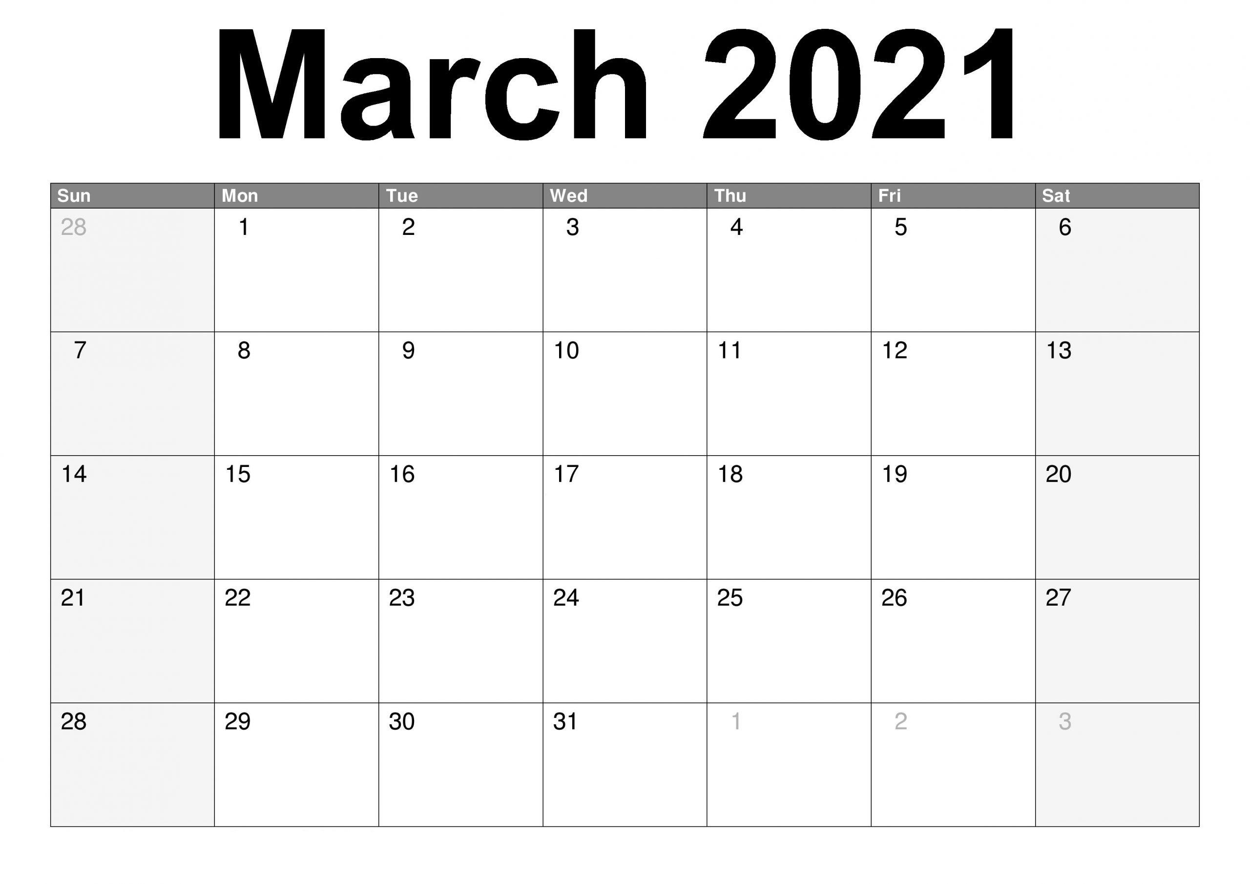 Desktop March Calendar 2021