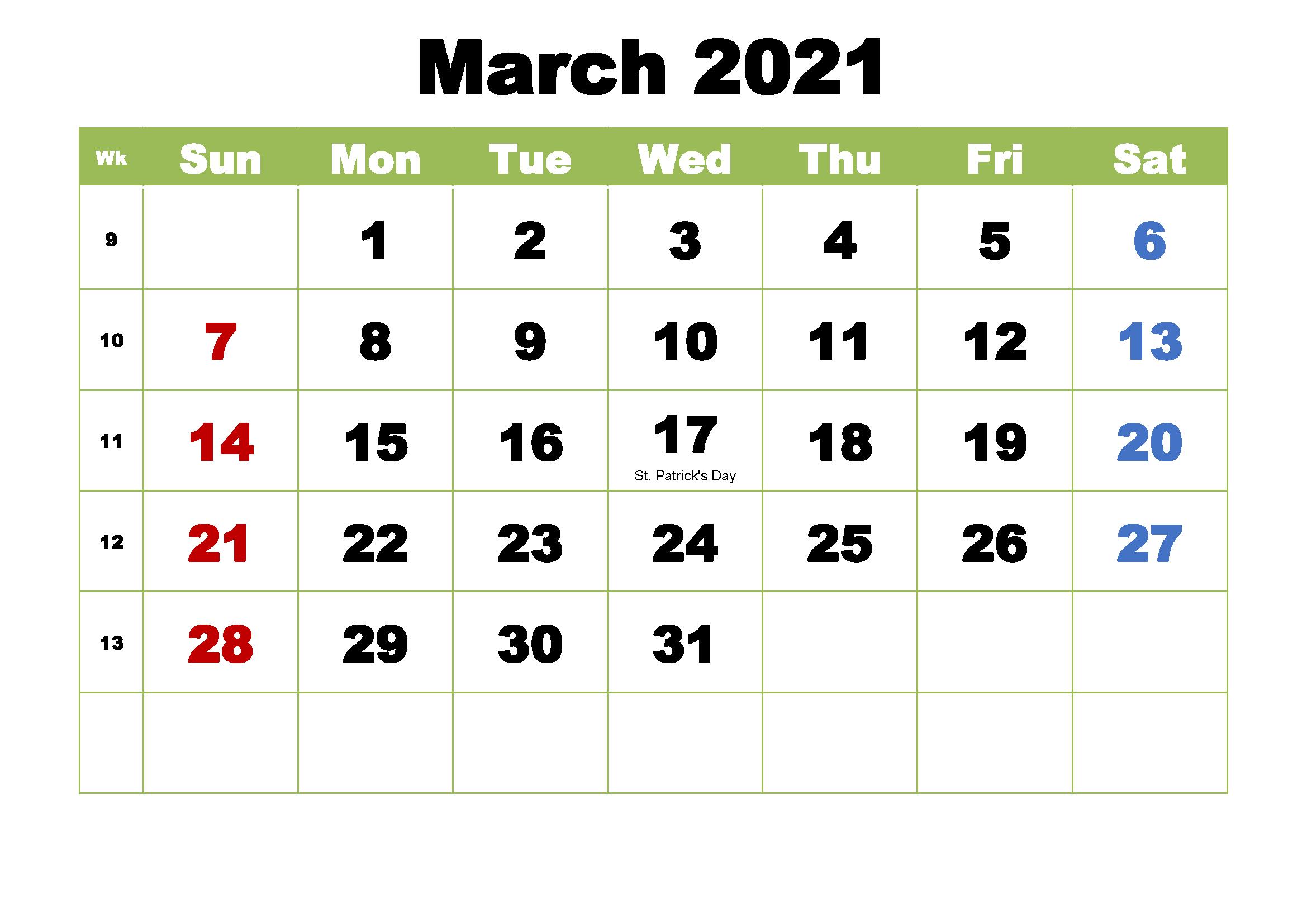 Elegant March Calendar 2021
