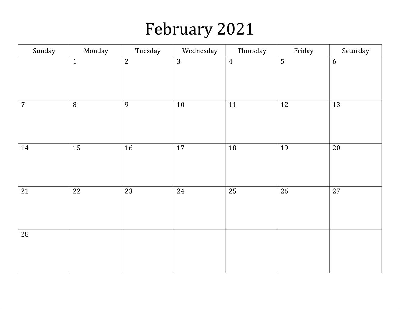 February 2021 Calendar Monday Start