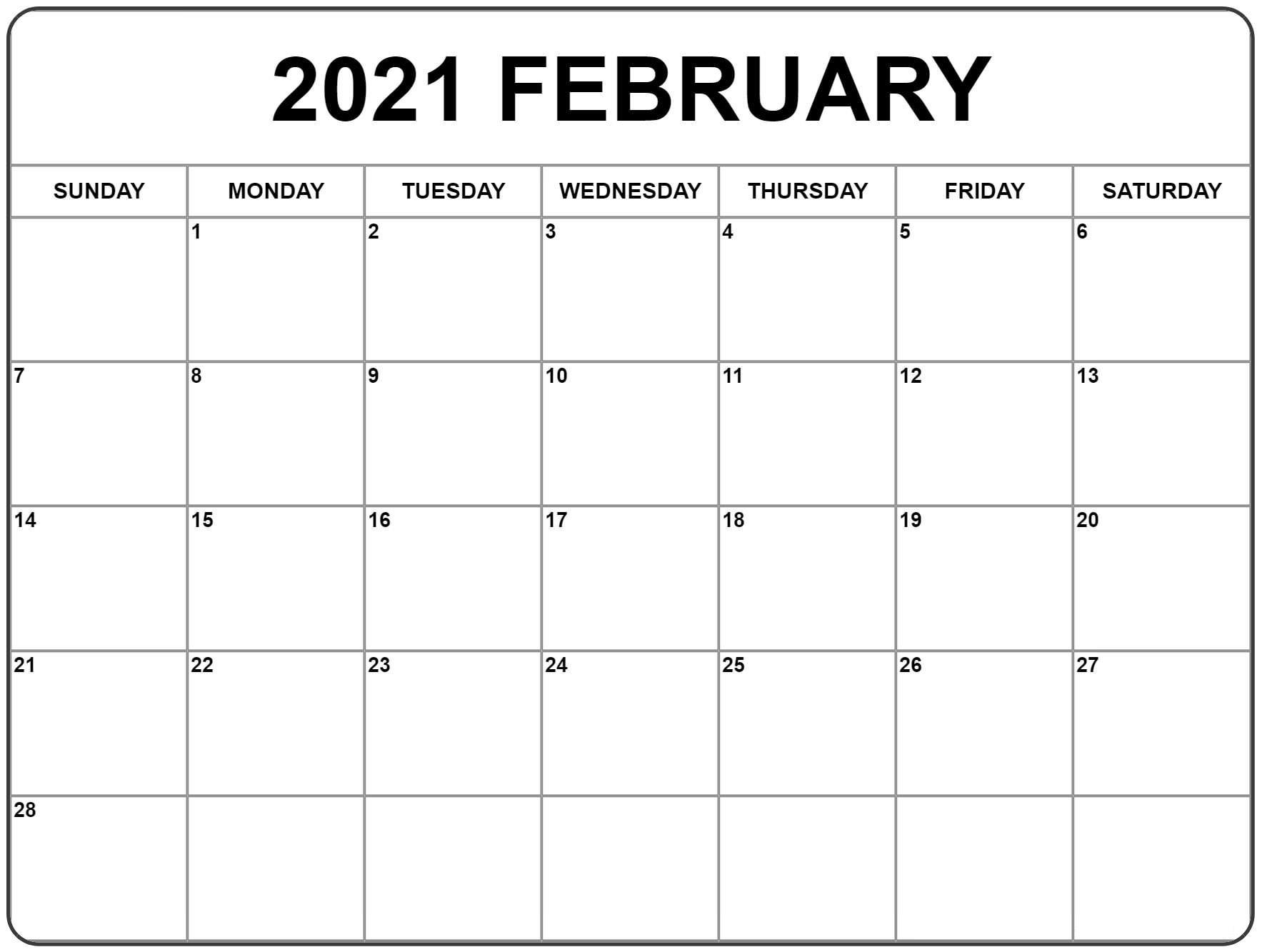 February 2021 Calendar USA UK