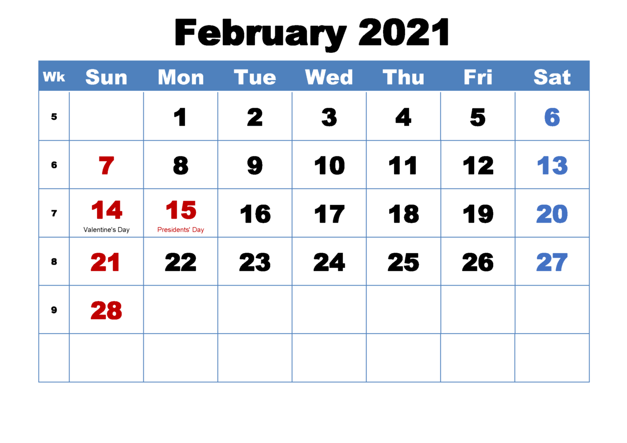 February 2021 Calendar With Holiday