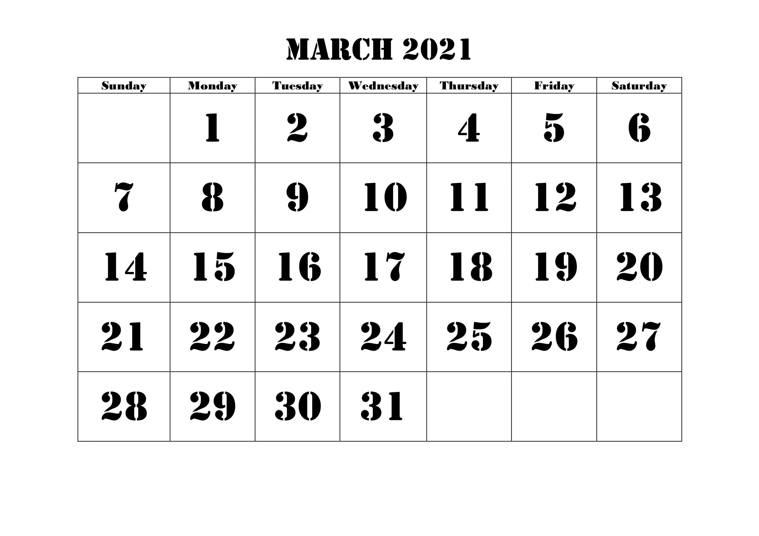 Floral March Calendar 2021