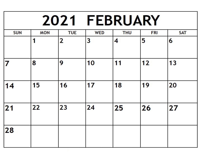 Free February 2021 Calendar