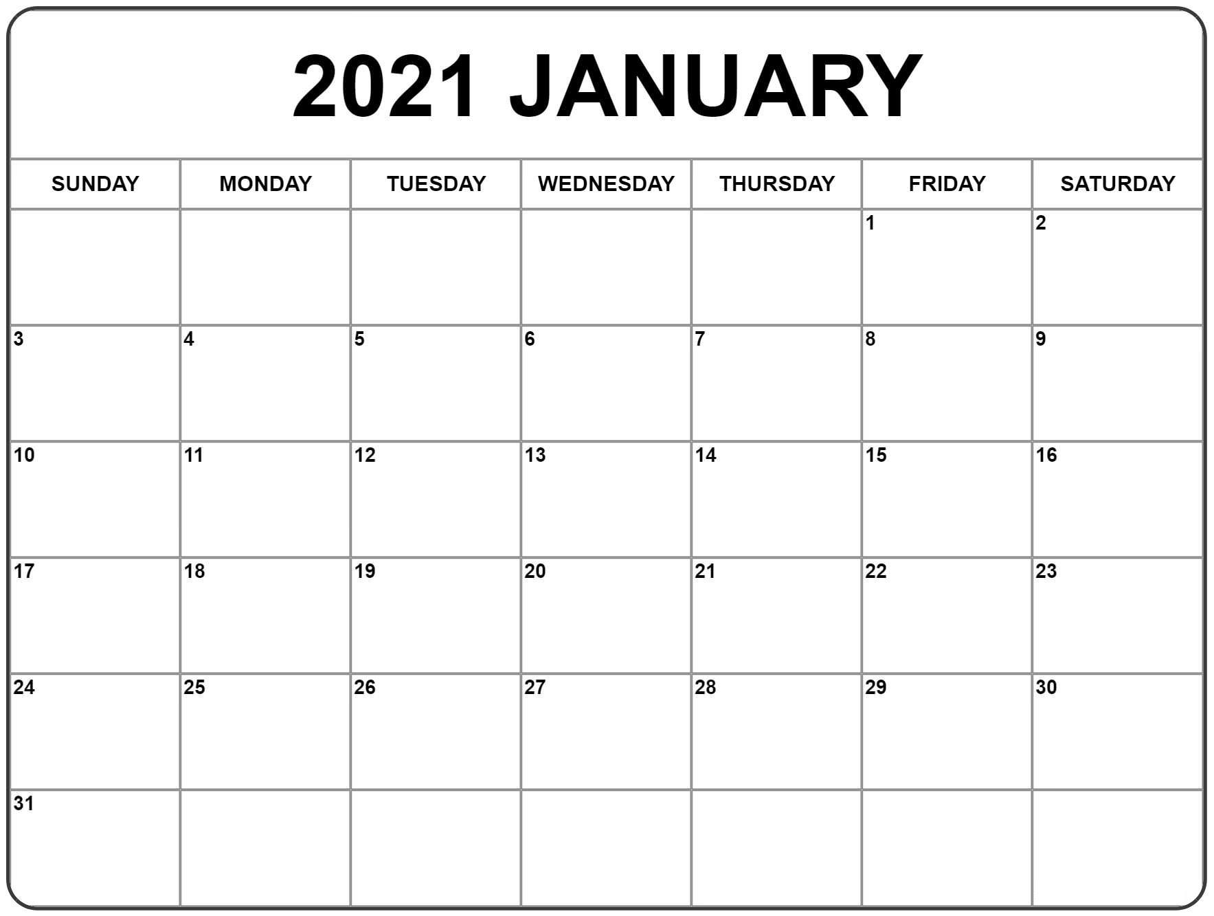 January 2021 Calendar Image