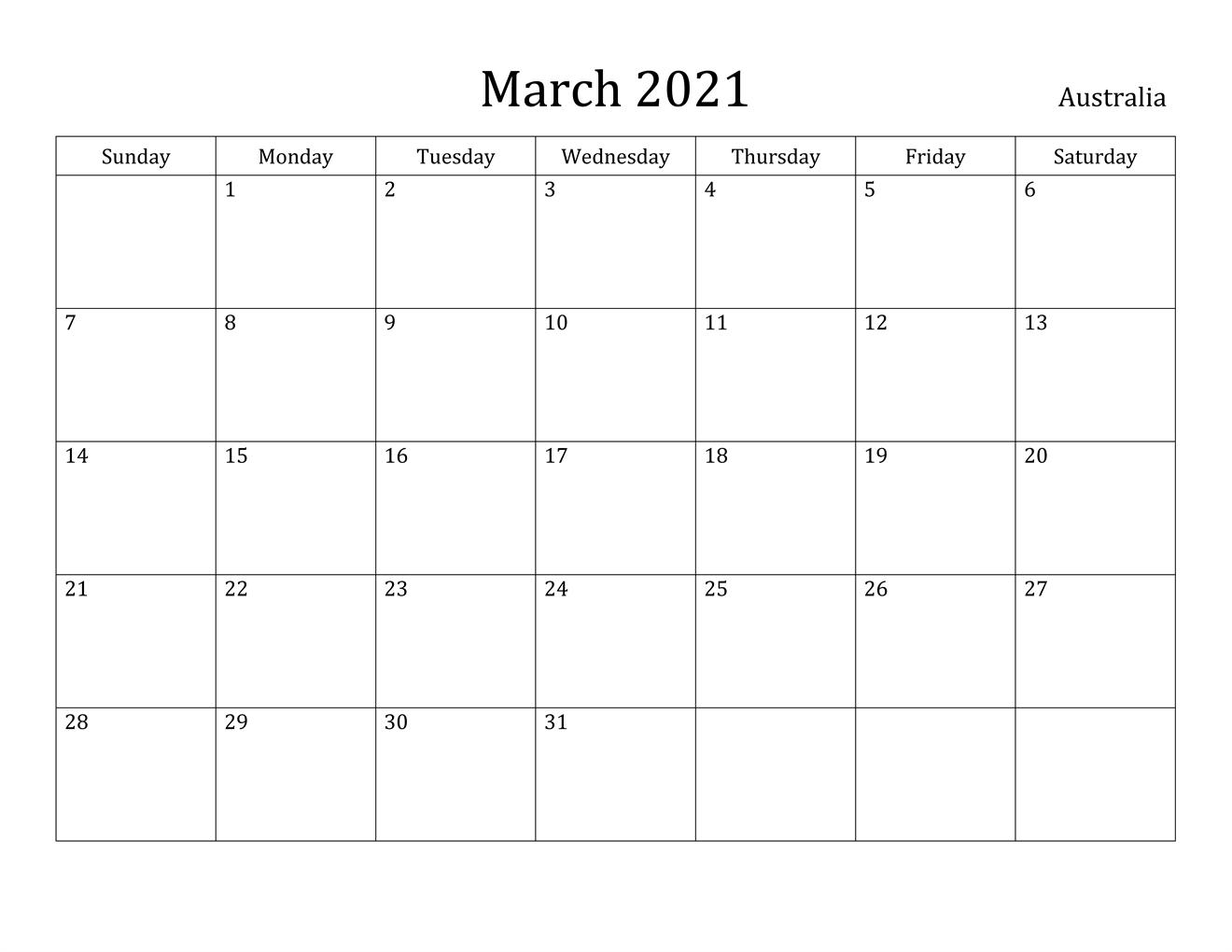 Pink March Calendar 2021