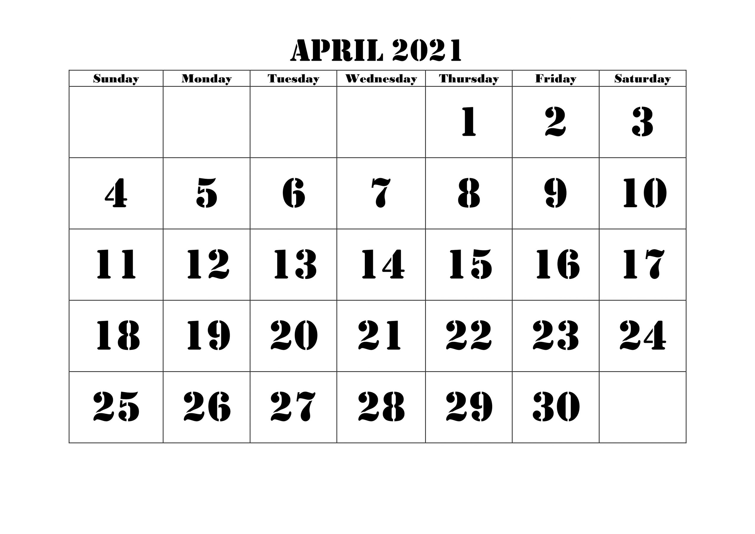 Plant Bright April 2021 Calendar