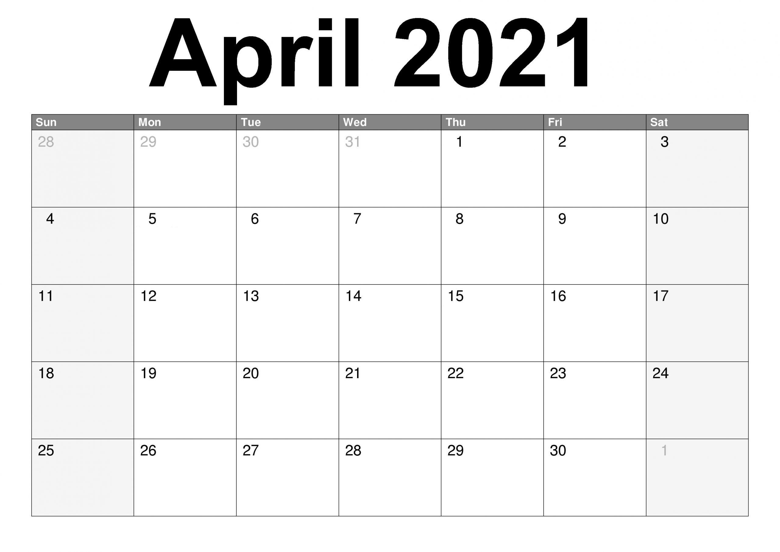 Printable Blank April 2021 Calendar