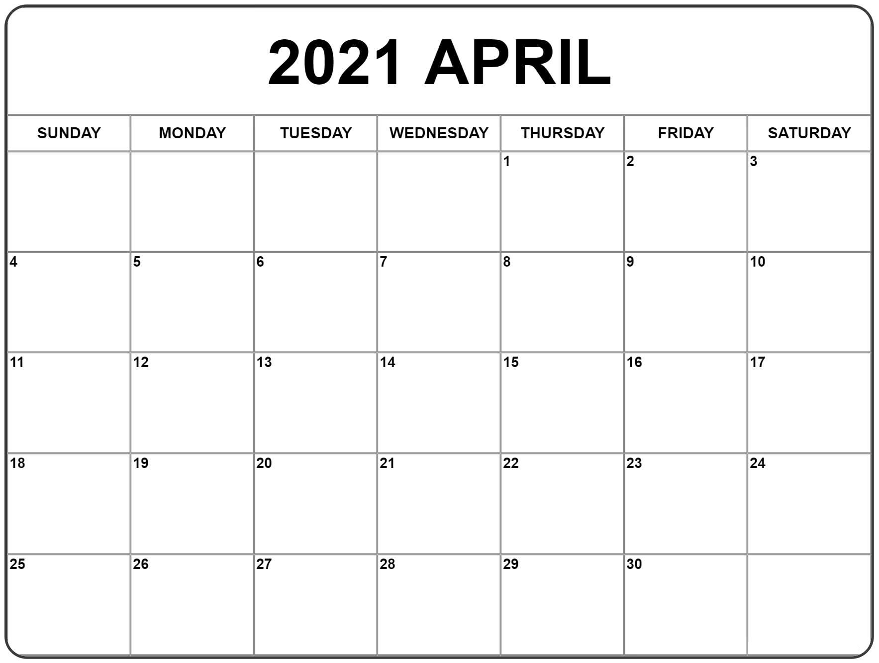 Purple April 2021 Calendar